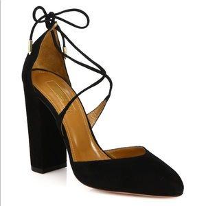 Aquazurra Karlie Suede Lace-Up Block Heel